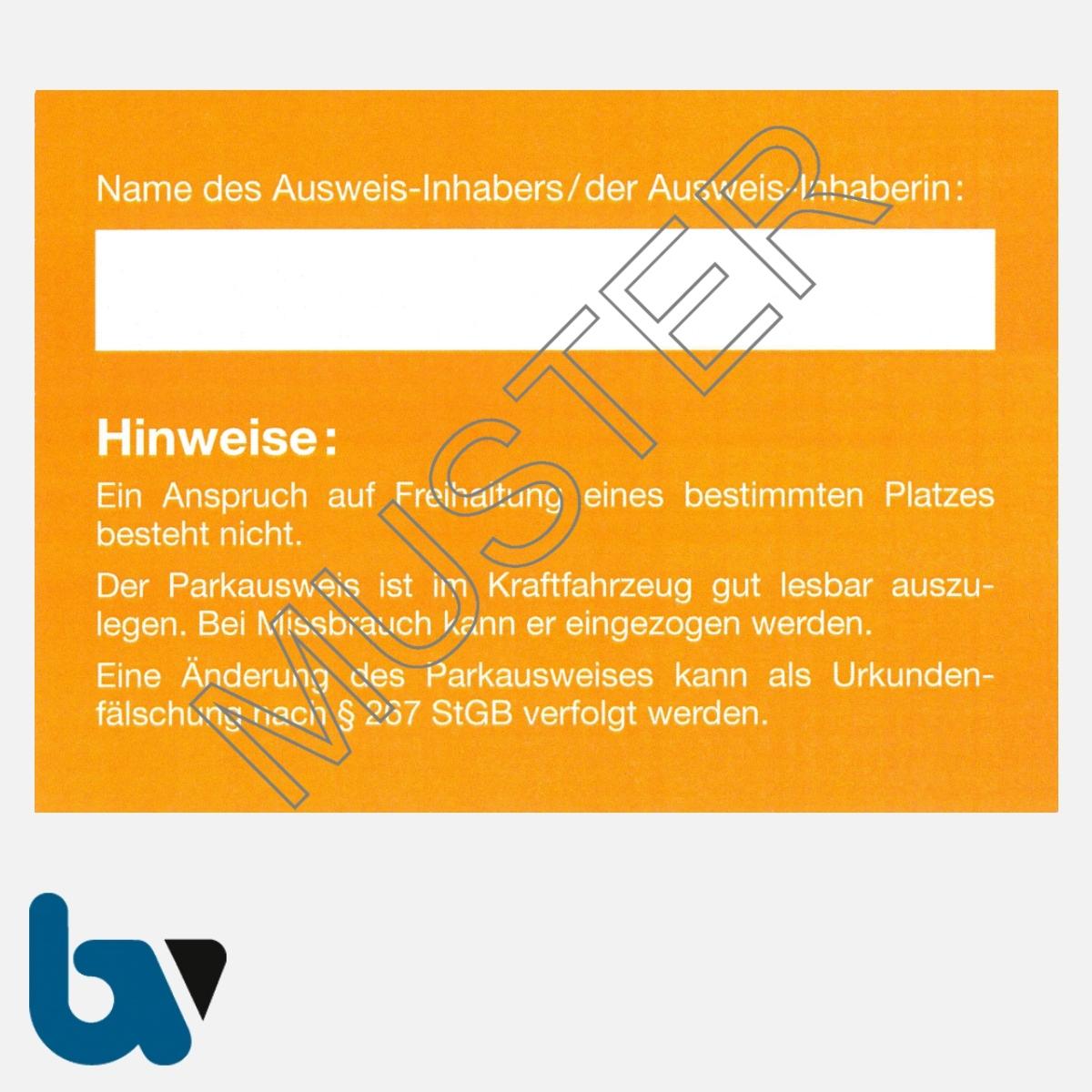 0/497-8.1 Bewohnerparkausweis Muster orange DIN A6 Karton RS | Borgard Verlag GmbH