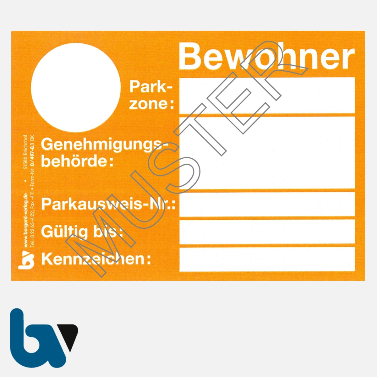 0/497-8.1 Bewohnerparkausweis Muster orange DIN A6 Karton VS | Borgard Verlag GmbH