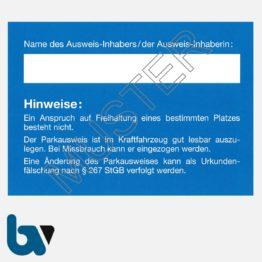 0/497-8.2 Bewohnerparkausweis Muster blau DIN A6 Karton RS | Borgard Verlag GmbH