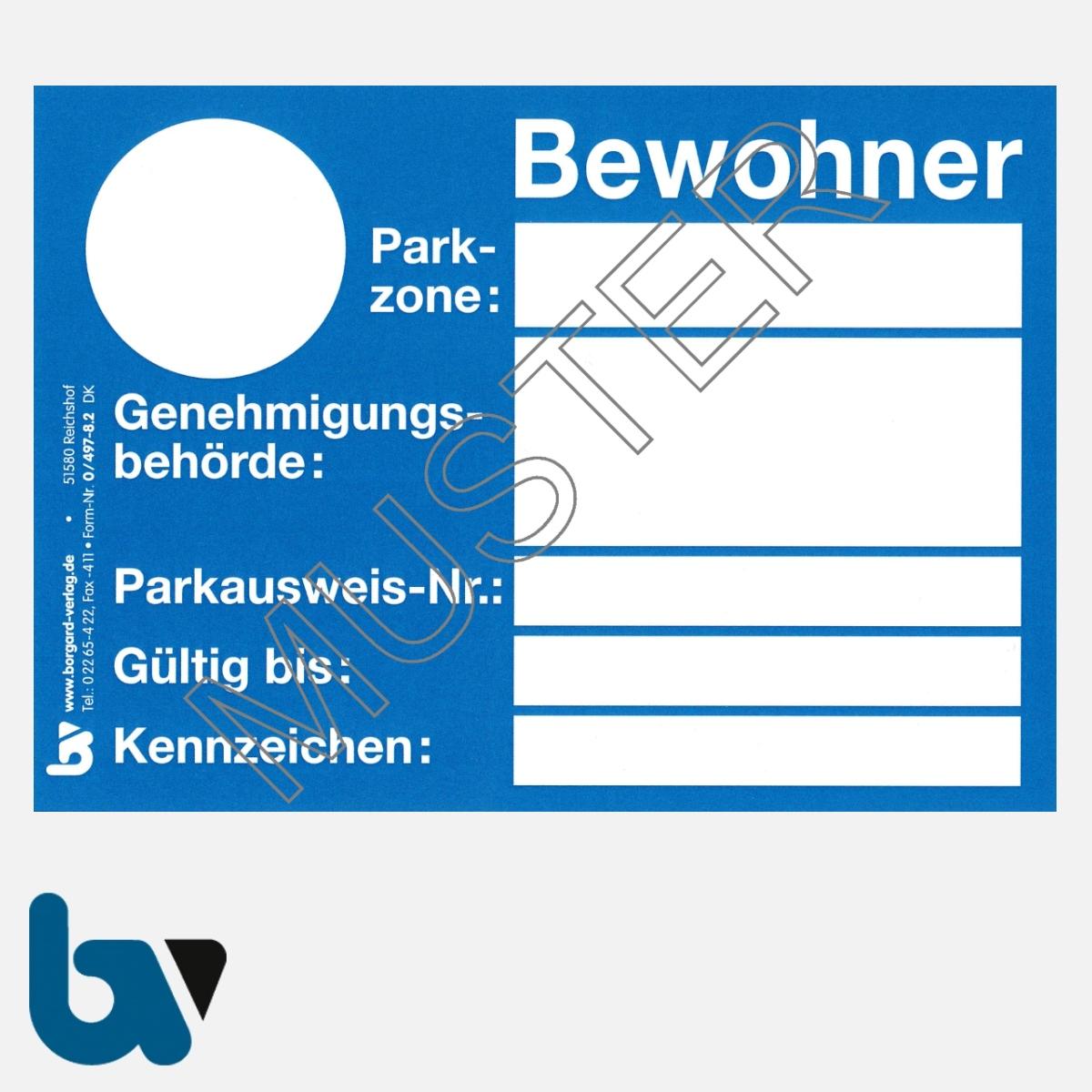 0/497-8.2 Bewohnerparkausweis Muster blau DIN A6 Karton VS | Borgard Verlag GmbH