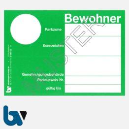 0/497-8.3 Bewohnerparkausweis amtlich Muster grün DIN A6 Karton VS | Borgard Verlag GmbH