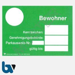 0/497-8.6 Bewohnerparkausweis Muster grün DIN A6 Karton | Borgard Verlag GmbH