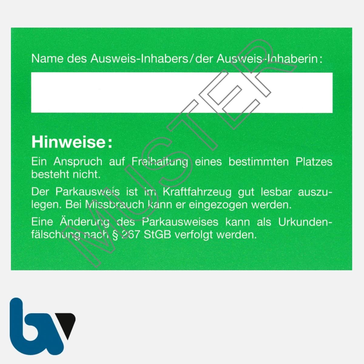 0/497-8 Bewohnerparkausweis amtlich Muster grün DIN A6 Karton RS | Borgard Verlag GmbH