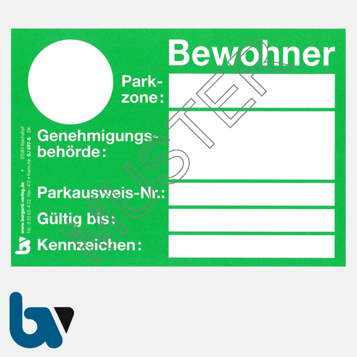 0/497-8 Bewohnerparkausweis amtlich Muster grün DIN A6 Karton VS   Borgard Verlag GmbH