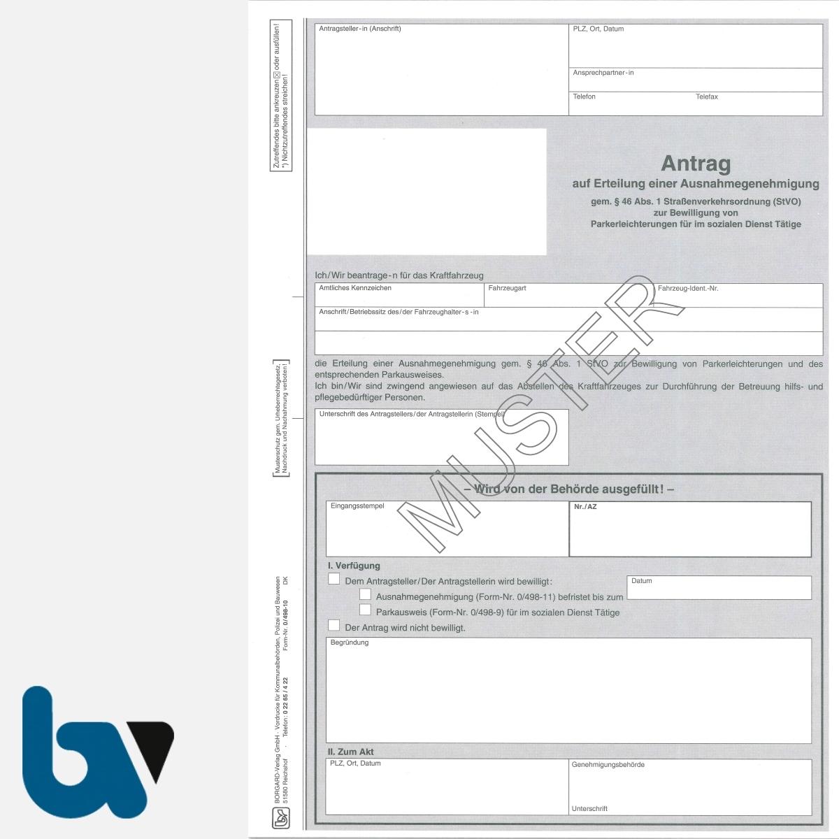 0/498-10 Antrag Erteilung Ausnahmegenehmigung 46 Straßenverkehrsordnung StVO Bewilligung Parkerleichterung soziale Dienst selbstdurchschreibend DIN A4 2-fach | Borgard Verlag GmbH