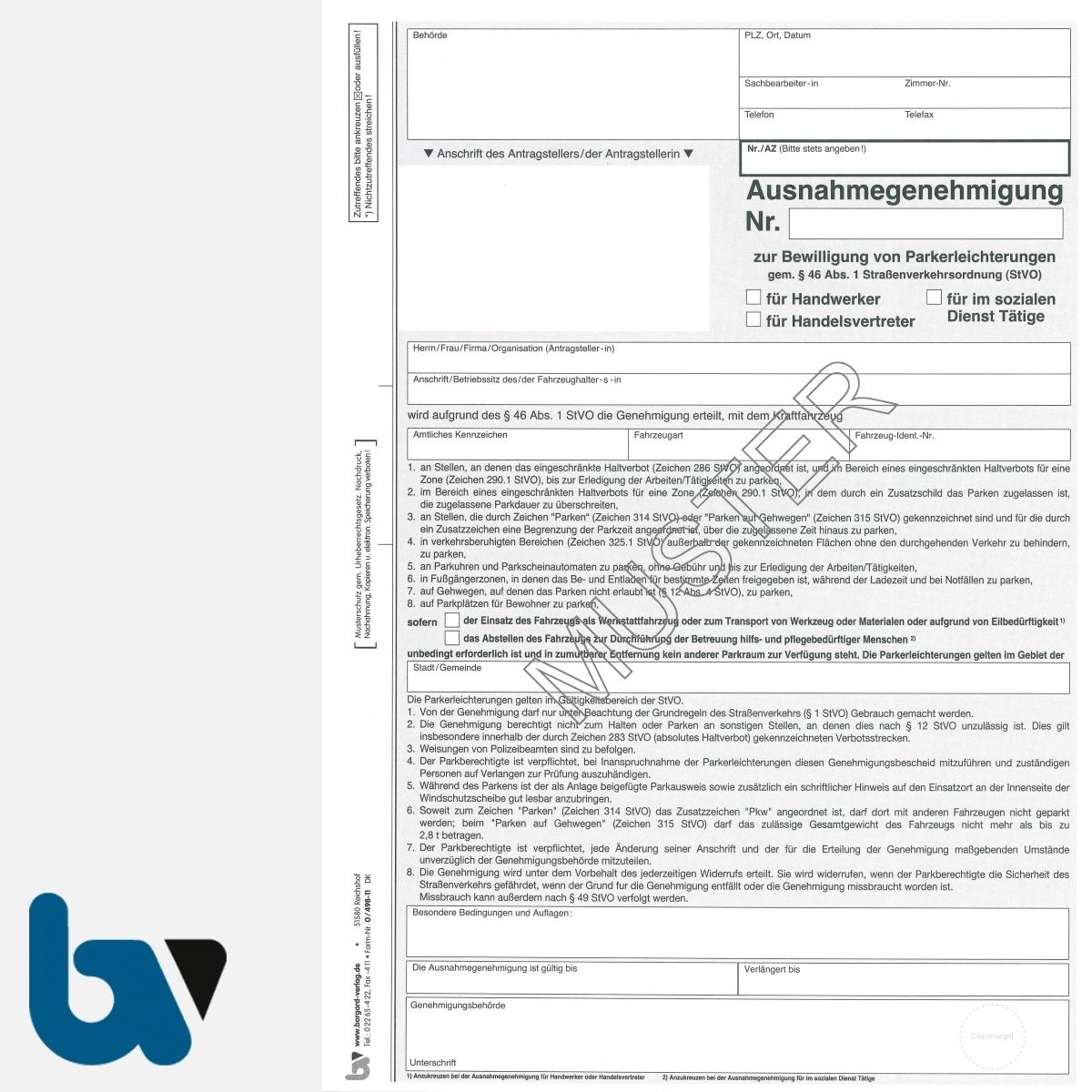 0/498-11 Ausnahmegenehmigung 46 Straßenverkehrsordnung StVO Bewilligung Parkerleichterung Handwerker Handelsvertreter soziale Dienst selbstdurchschreib DIN A4 2-fach | Borgard Verlag GmbH