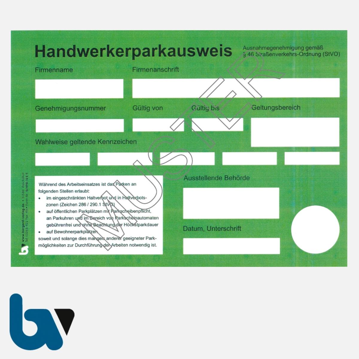 0/498-12.1s Handwerkerparkausweis 46 Straßenverkehrsordnung StVO Nordrhein-Westfalen NRW grün DIN A5 | Borgard Verlag GmbH