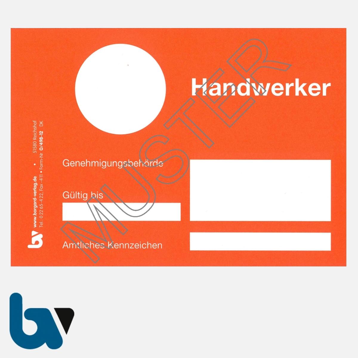 0/498-12 Handwerkerparkausweis orange DIN A6 Karton VS | Borgard Verlag GmbH