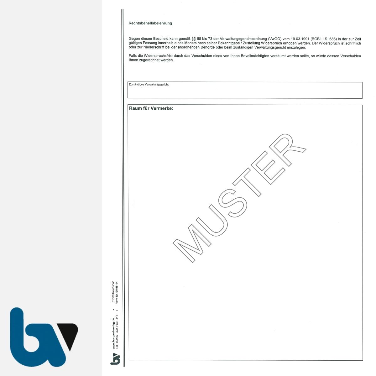 0/498-14 Ausnahmegenehmigung 46 Straßenverkehrsordnung StVO Bewilligung Bewohnerparkausweis selbstdurchschreibend DIN A4 2-fach RS | Borgard Verlag GmbH
