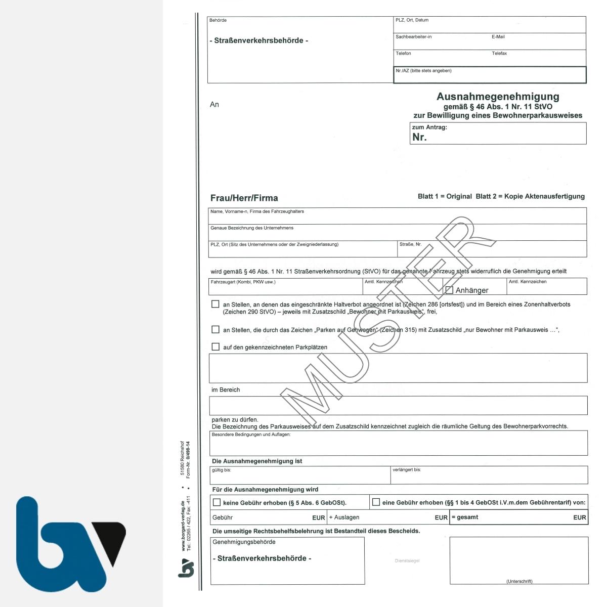 0/498-14 Ausnahmegenehmigung 46 Straßenverkehrsordnung StVO Bewilligung Bewohnerparkausweis selbstdurchschreibend DIN A4 2-fach VS | Borgard Verlag GmbH