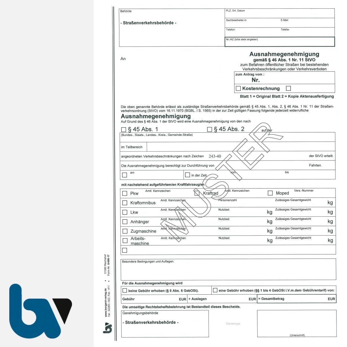0/498-17 Ausnahmegenehmigung 45 46 Straßenverkehrsordnung StVO Befahren öffentliche Straßen Beschränkung Verbot selbstdurchschreibend DIN A4 2-fach VS | Borgard Verlag GmbH