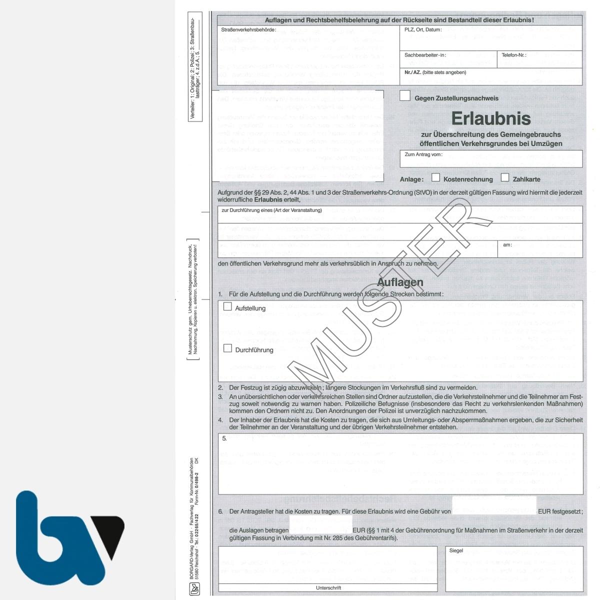0/498-2 Erlaubnis Nutzung Umzug Umzüge Überschreitung öffentlich Verkehrsfläche 29 44 Straßenverkehrsordnung StVO selbstdurchschreibend DIN A4 4-fach VS | Borgard Verlag GmbH