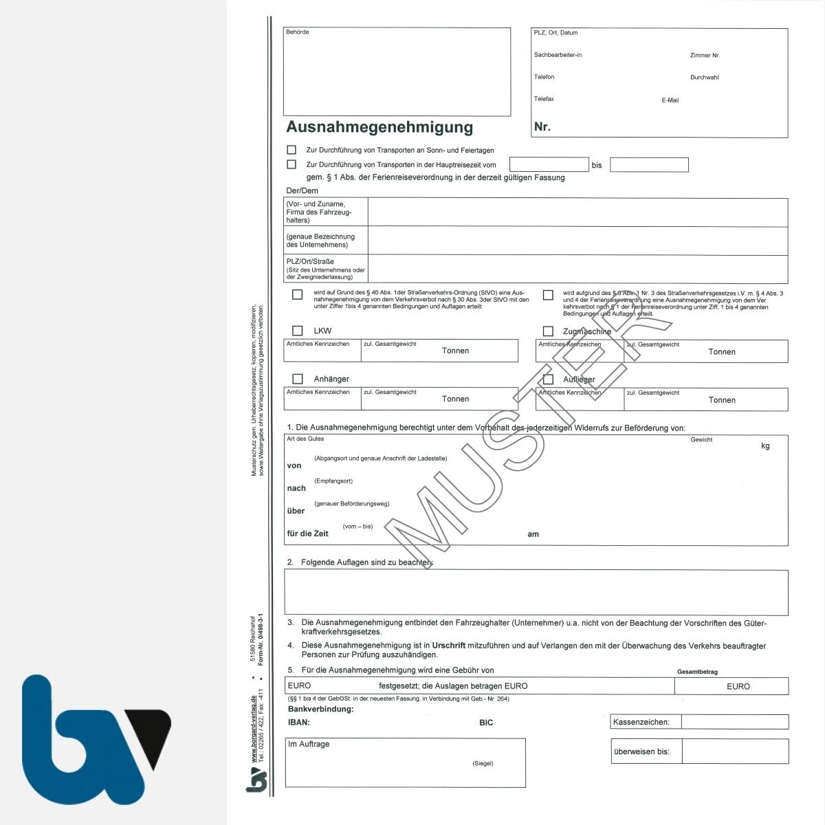 0/498-3.1 Ausnahmegenehmigung Durchführung Transporte Sonntag Feiertag Straßenverkehrsordnung StVO Strassenverkehrsgesetz StVG selbstdurchschreibend DIN A4 2-fach VS | Borgard Verlag GmbH
