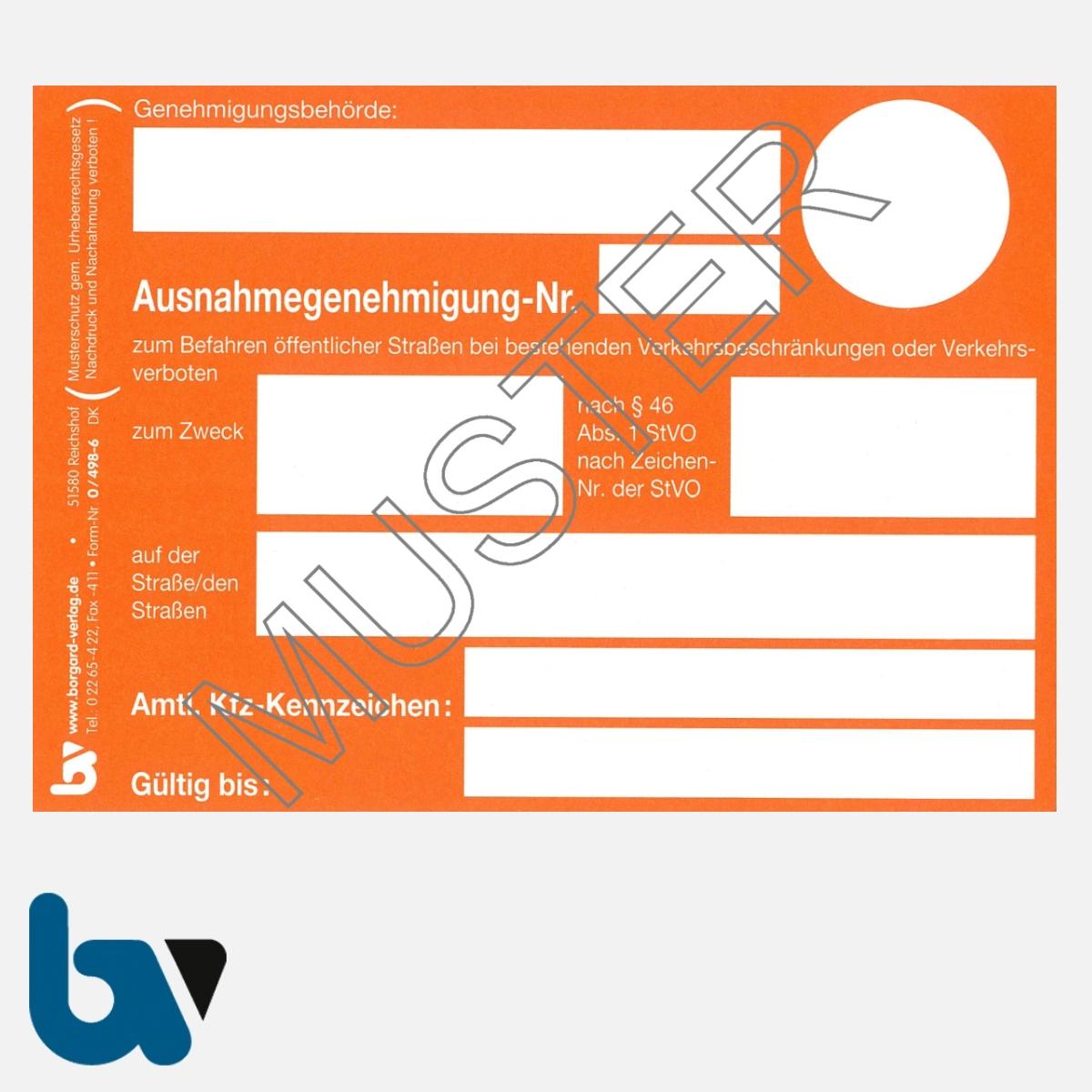 0/498-6 Ausnahmegenehmigung 46 Straßenverkehrsordnung StVO Befahren öffentliche Straßen Beschränkung Verbote orange DIN A6 Karton VS | Borgard Verlag GmbH