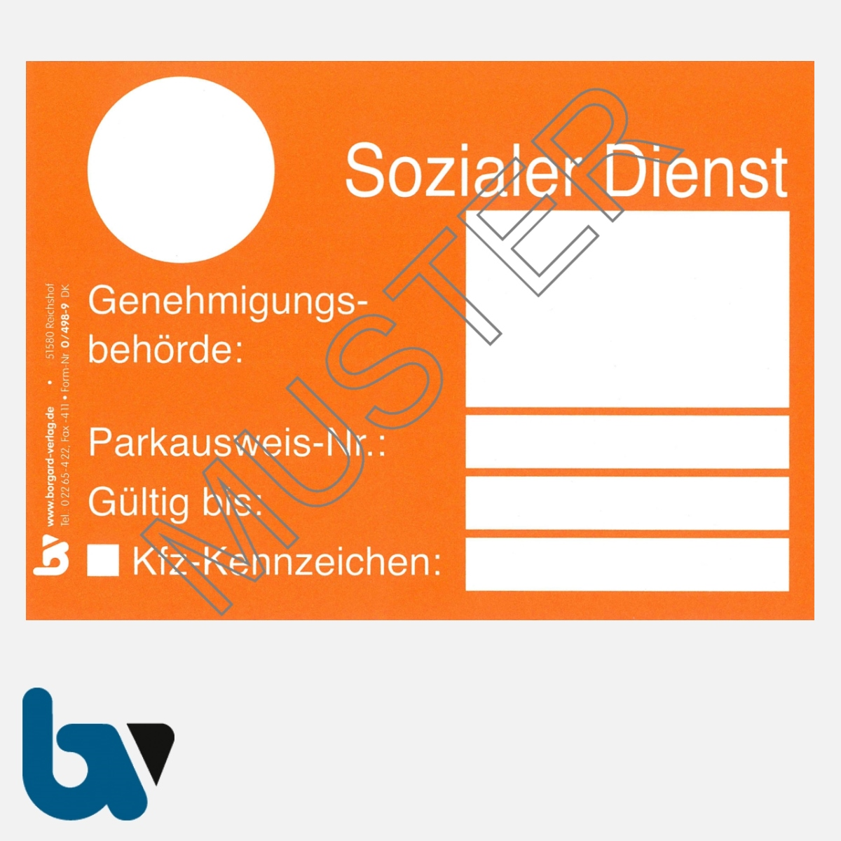 0/498-9 Parkausweis sozialer Dienst orange DIN A6 Karton VS | Borgard Verlag GmbH
