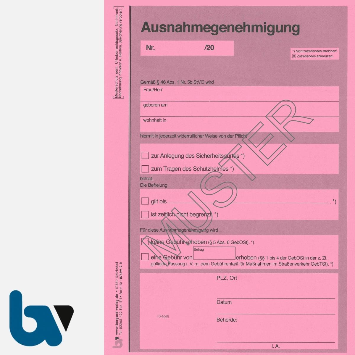 0/499-2 Ausnahmegenehmigung 46 Straßenverkehrsordnung StVO Befreiung Gurtpflicht Helmpflicht Neobond DIN A5 2-fach | Borgard Verlag GmbH