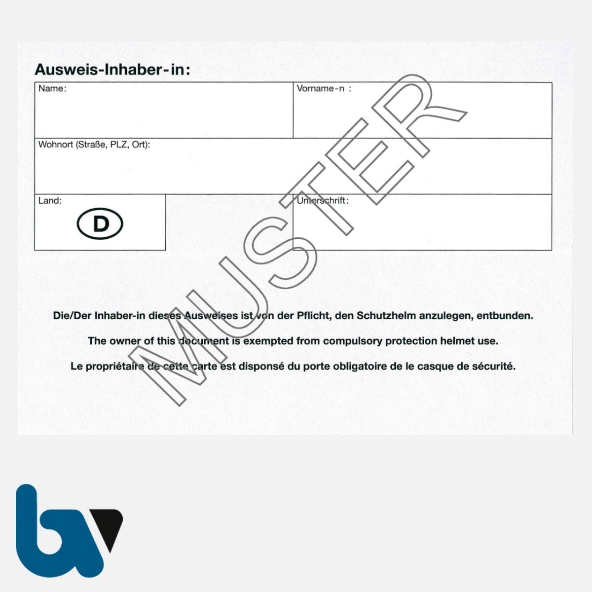 0/499-3.1 Ausweis Ausnahmegenehmigung 46 Straßenverkehrsordnung StVO Befreiung Helmpflicht Karte DIN A6 RS | Borgard Verlag GmbH