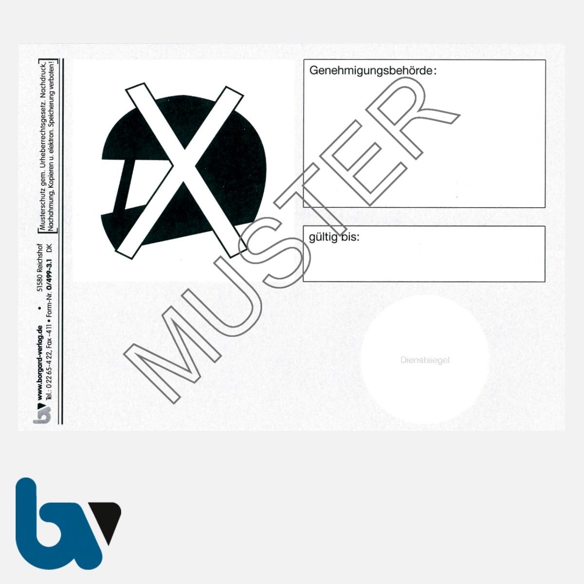 0/499-3.1 Ausweis Ausnahmegenehmigung 46 Straßenverkehrsordnung StVO Befreiung Helmpflicht Karte DIN A6 VS | Borgard Verlag GmbH
