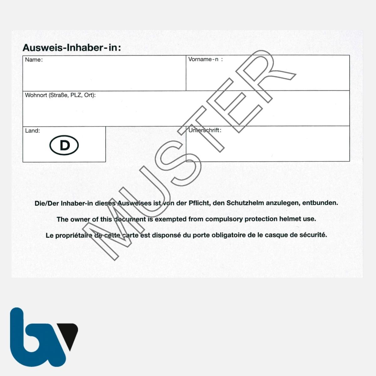 0/499-3 Ausweis Ausnahmegenehmigung 46 Straßenverkehrsordnung StVO Befreiung Gurtpflicht Karte DIN A6 RS | Borgard Verlag GmbH
