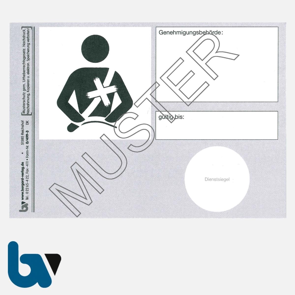 0/499-3 Ausweis Ausnahmegenehmigung 46 Straßenverkehrsordnung StVO Befreiung Gurtpflicht Karte DIN A6 VS | Borgard Verlag GmbH