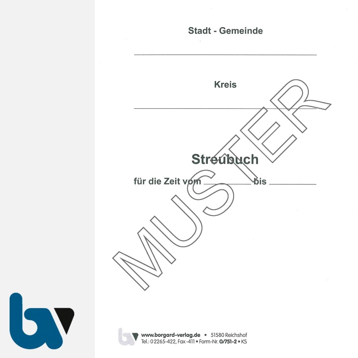 0/751-2 Streubuch Winterdienst Einsatz 12 17 Wetterfest Einlage Titel | Borgard Verlag GmbH