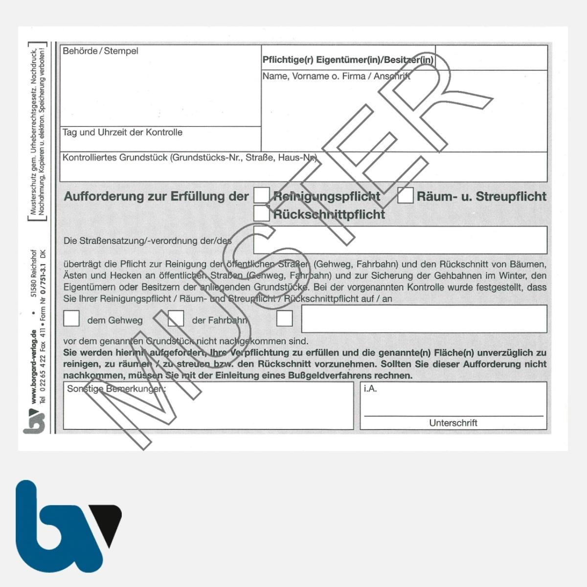 0/751-3.1 Aufforderung Erfüllung Reinigungspflicht Räumpflicht Rückschnittpflicht Gehweg Fahrbahn selbstdurchschreibend DIN A6 2fach Seite 1 | Borgard Verlag GmbH