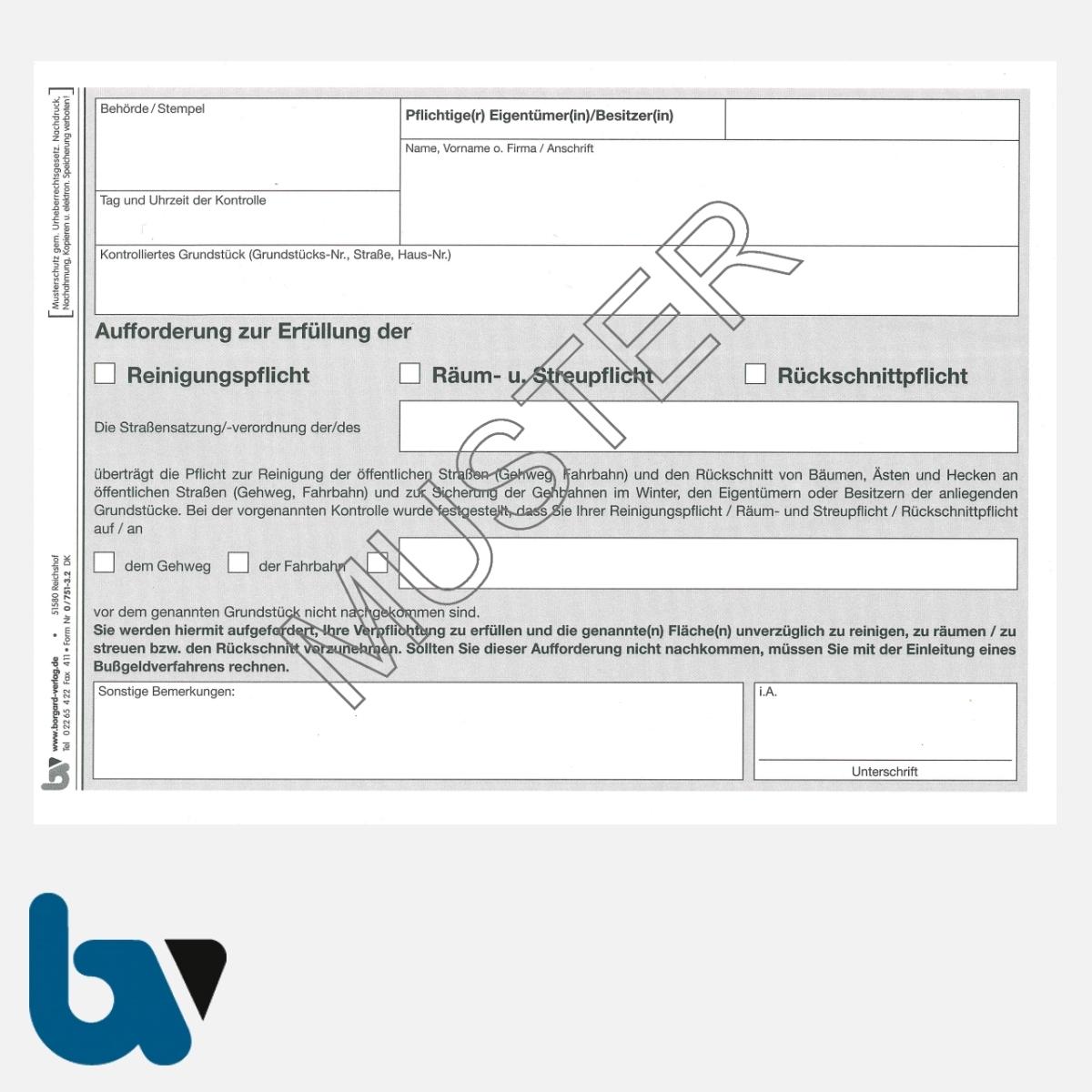 0/751-3.2 Aufforderung Erfüllung Reinigungspflicht Räumpflicht Rückschnittpflicht Gehweg Fahrbahn selbstdurchschreibend DIN A5 2fach Seite 1 | Borgard Verlag GmbH