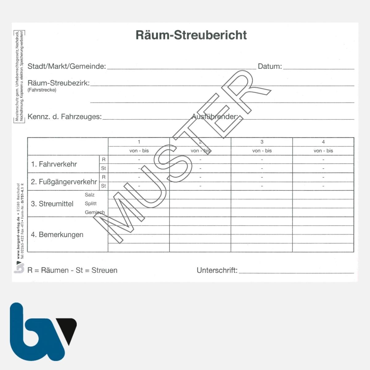 0/751-4.1 Räumbericht Streubericht Bezirk selbstdurchschreibend DIN A5 Seite 1 | Borgard Verlag GmbH
