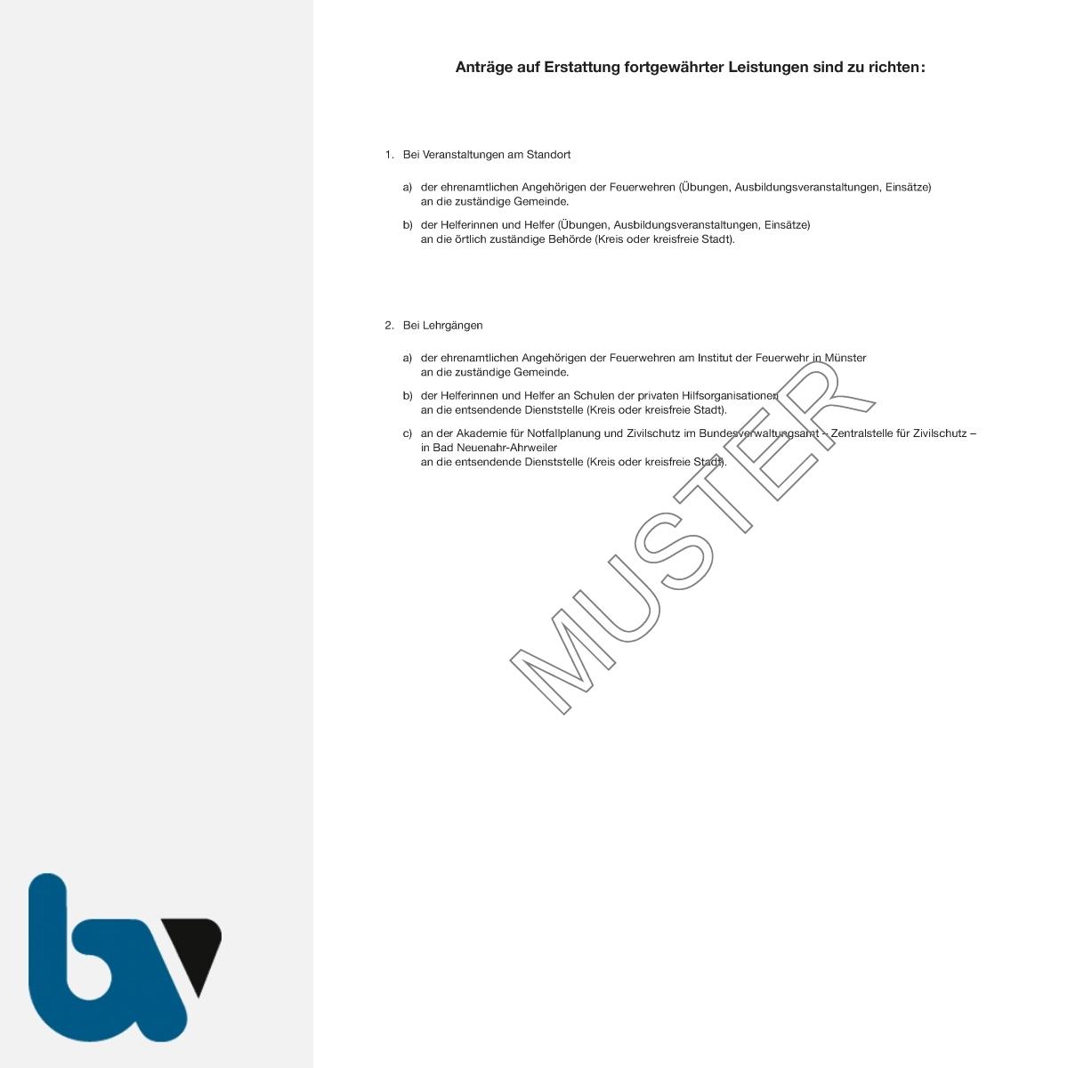 1/469-1 Antrag Erstattung fortgewährt Arbeitsverdienst Sozial Arbeitslosenversicherung sonstige Leistungen Feuerwehr NRW BHKG DIN A4 RS | Borgard Verlag GmbH