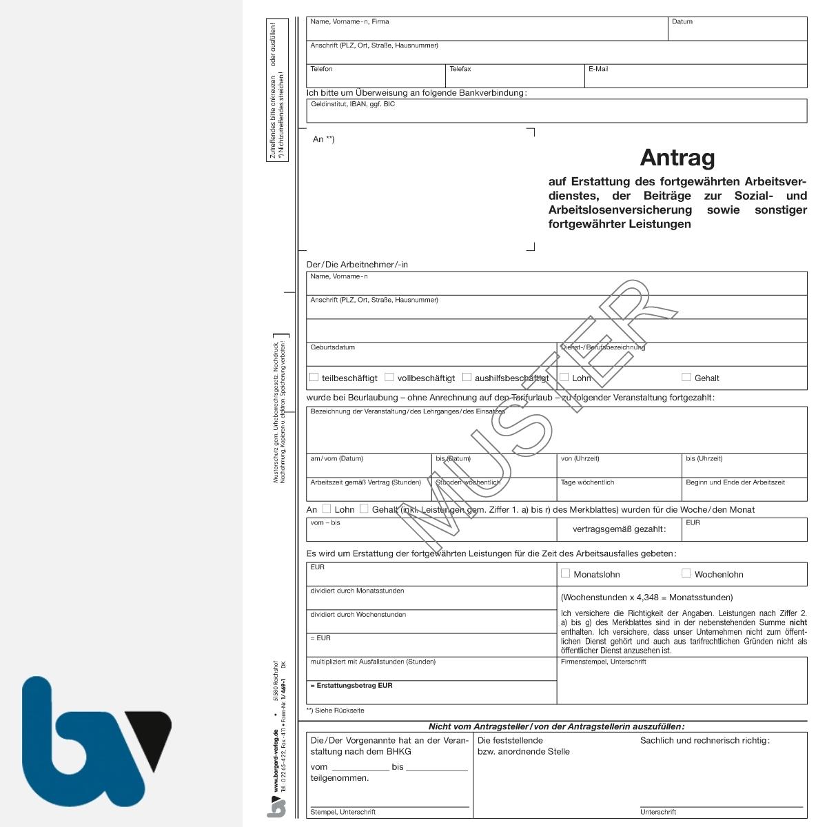 1/469-1 Antrag Erstattung fortgewährt Arbeitsverdienst Sozial Arbeitslosenversicherung sonstige Leistungen Feuerwehr NRW BHKG DIN A4 VS | Borgard Verlag GmbH