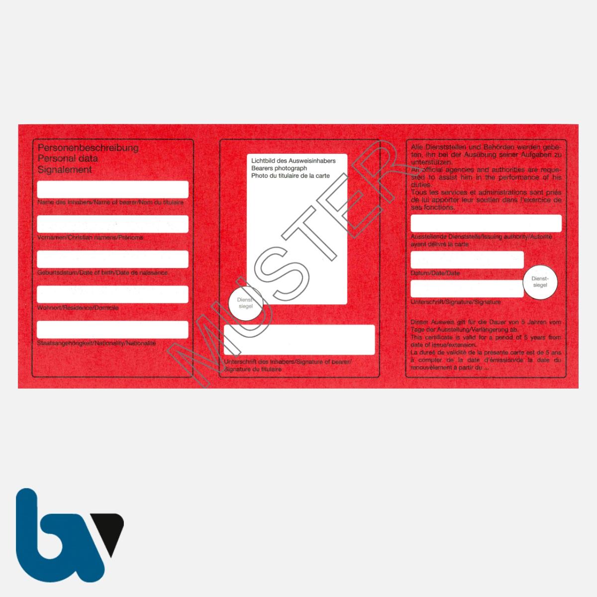 11/461-1.1 Dienstausweis Feuerwehr mehrsprachig rot weiß Neobond RS | Borgard Verlag GmbH