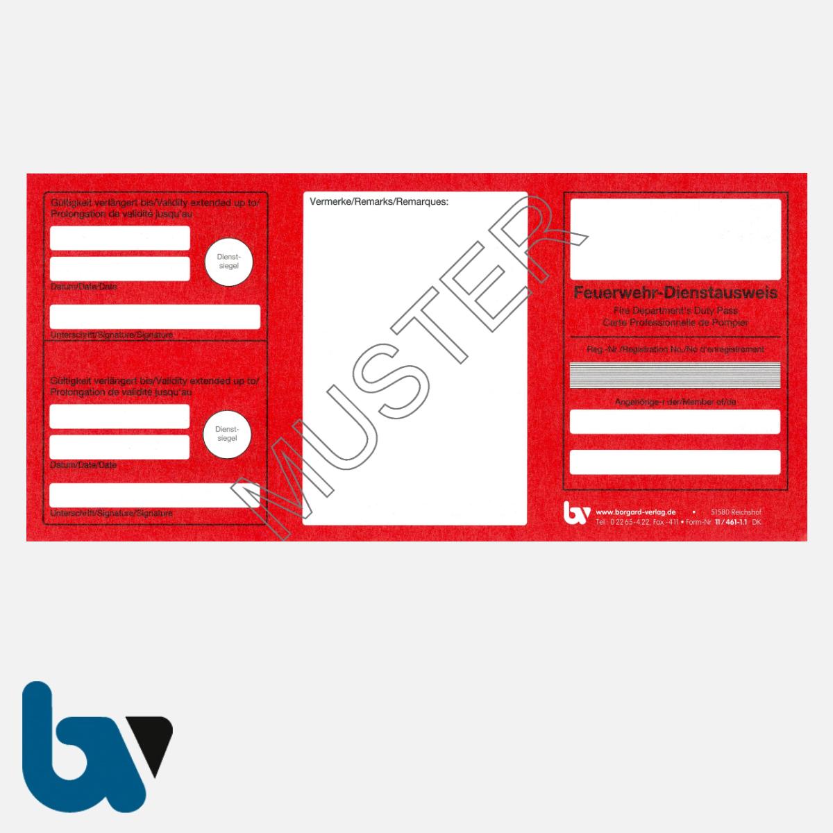 11/461-1.1 Dienstausweis Feuerwehr mehrsprachig rot weiß Neobond VS | Borgard Verlag GmbH