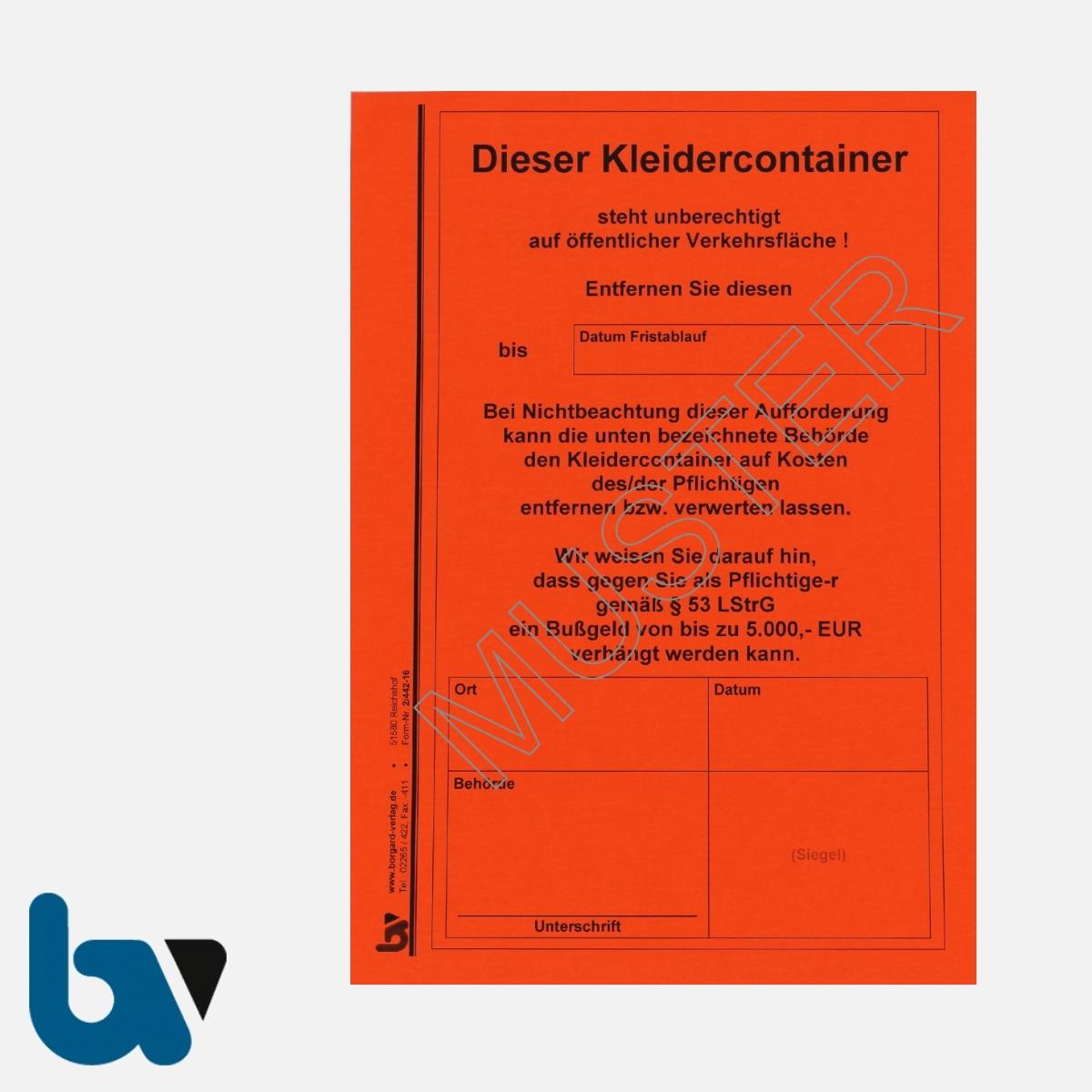 2/442-16 Aufkleber Aufforderung Entfernung Kleidercontainer selbstklebend Rheinland-Pfalz Landesstraßengesetz Abfall DIN A5 VS | Borgard Verlag GmbH