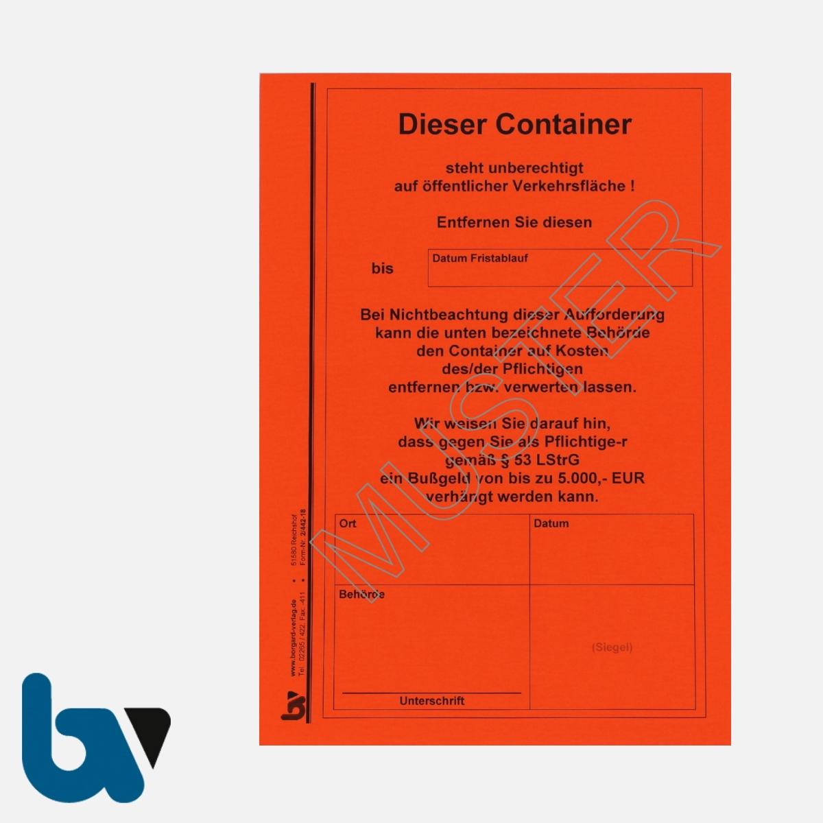 2/442-18 Aufkleber Aufforderung Entfernung Container selbstklebend Rheinland-Pfalz Landesstraßengesetz Abfall DIN A5 VS | Borgard Verlag GmbH