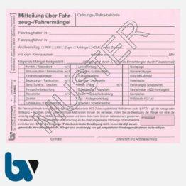 3/440-2 Mitteilung über Fahrzeugmängel Bestätigung Beseitigung FZV selbstdurchschreibend DIN A6 2-fach Seite 1 | Borgard Verlag GmbH