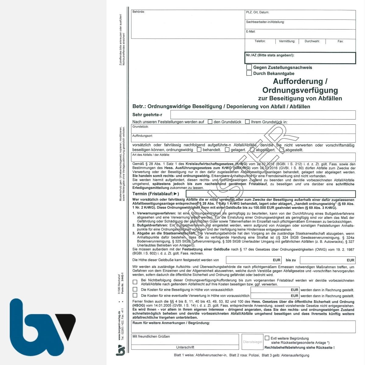 3/442-1 Aufforderung Verfügung Beseitigung Abfall Abfälle Kreislausfwirtschaftsgesetz KrWG HAKrWG HSOG Hessen selbstdurchschreibend DIN A4 3-fach VS | Borgard Verlag GmbH