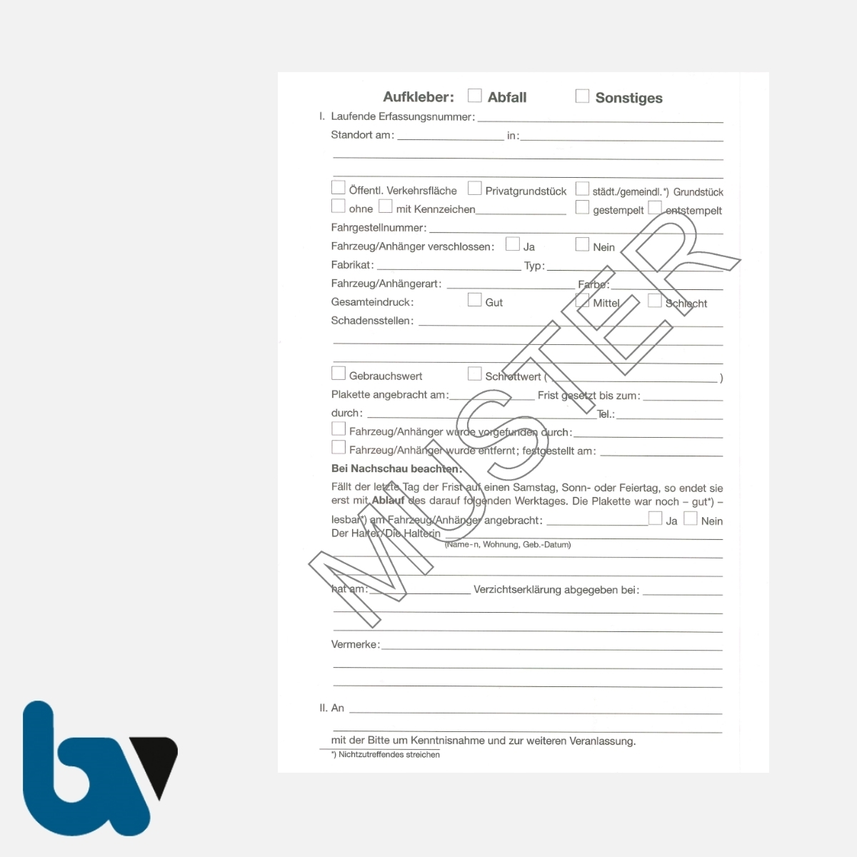 3/442-14 Aufkleber Aufforderung Entfernung Container Kleidercontainer Gegenstand selbstklebend Hessen HStrG HSOG StVO Aufnahmeprotokoll Abfall DIN A5 RS | Borgard Verlag GmbH