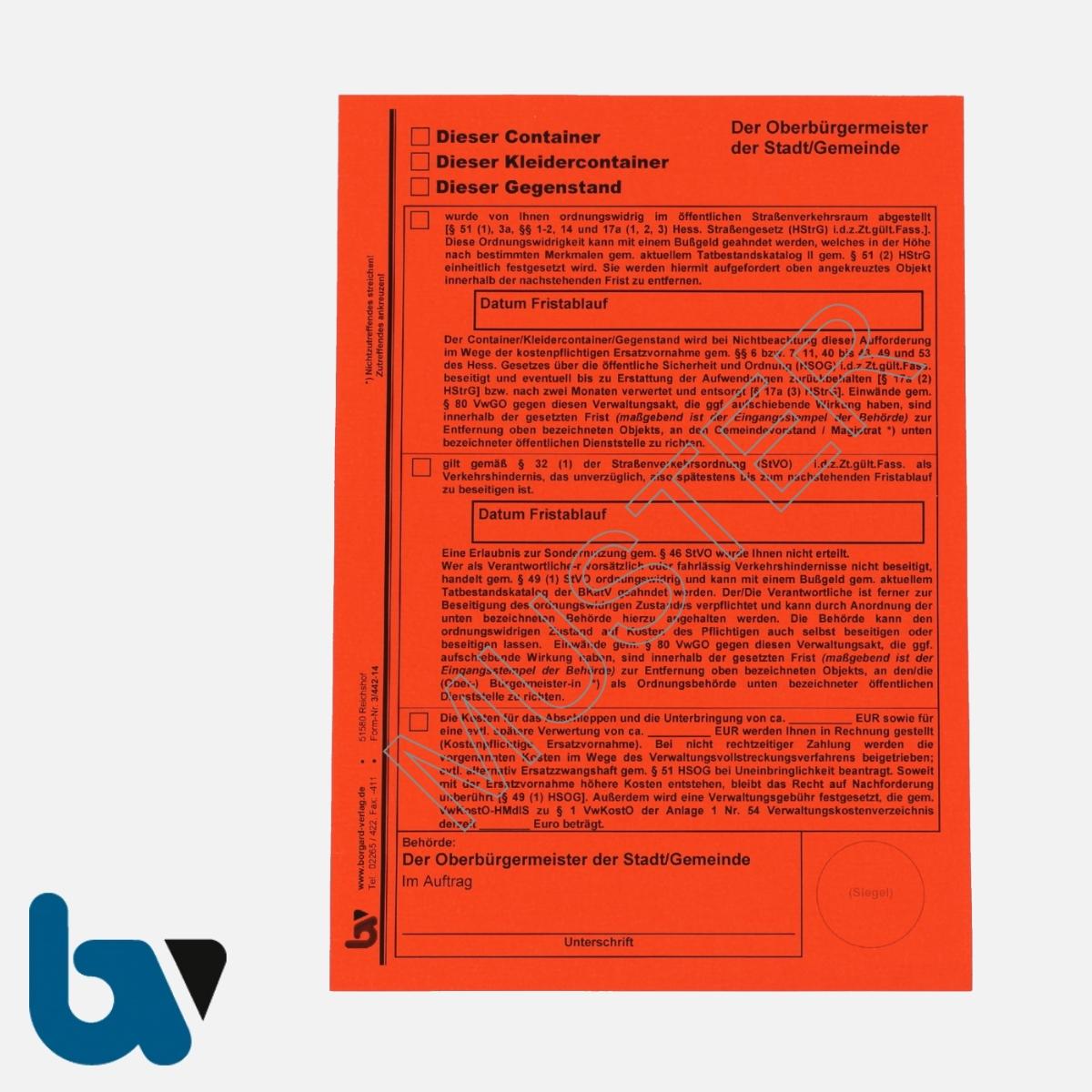3/442-14 Aufkleber Aufforderung Entfernung Container Kleidercontainer Gegenstand selbstklebend Hessen HStrG HSOG StVO Aufnahmeprotokoll Abfall DIN A5 VS | Borgard Verlag GmbH