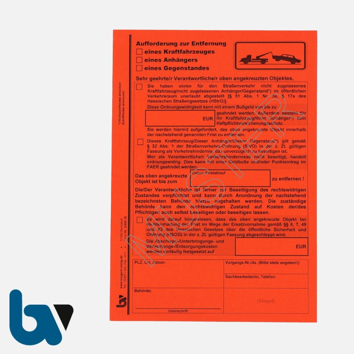 3/442-15 Aufkleber Aufforderung Entfernung Fahrzeug Anhänger Gegenstand selbstklebend Hessen HStrG HSOG StVO Aufnahmeprotokoll Abfall DIN A5 VS | Borgard Verlag GmbH
