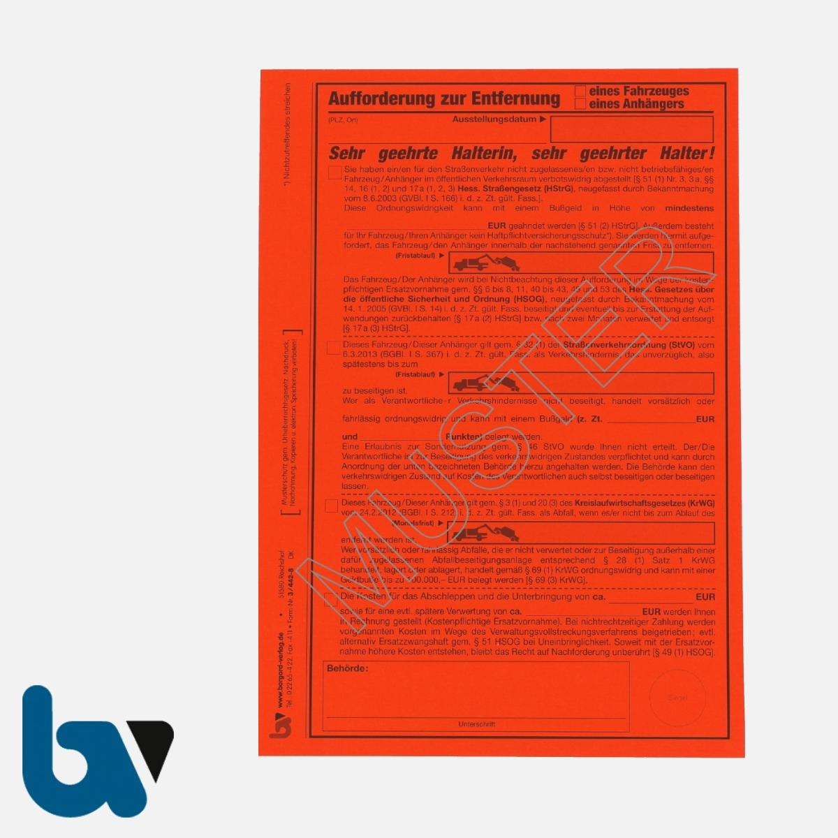 3/442-8 Aufkleber Aufforderung Entfernung Fahrzeug Anhänger selbstklebend Hessen-HStrG HSOG StVO KrWG Aufnahmeprotokoll Abfall DIN A5 VS | Borgard Verlag GmbH