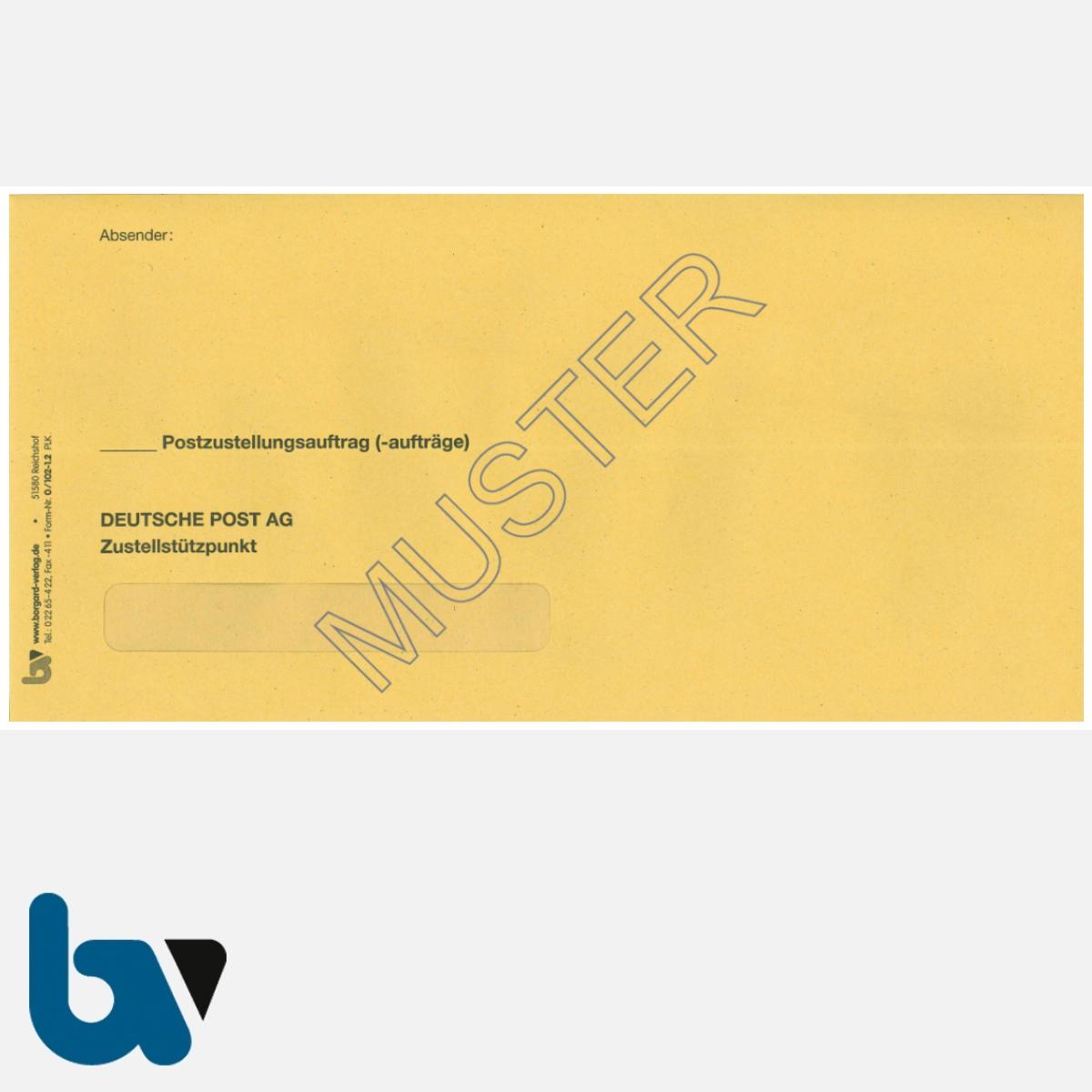 0/102-1.2 Postzustellungsauftrag Variante äußerer Umschlag DIN lang mit Fenster nassklebend Vorderseite| Borgard Verlag GmbH