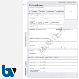 0/112-10 Personalbogen Beamtin Beamter Beschäftigte öffentlicher Dienst Doppelbogen DIN A4 Seite 1 | Borgard Verlag GmbH
