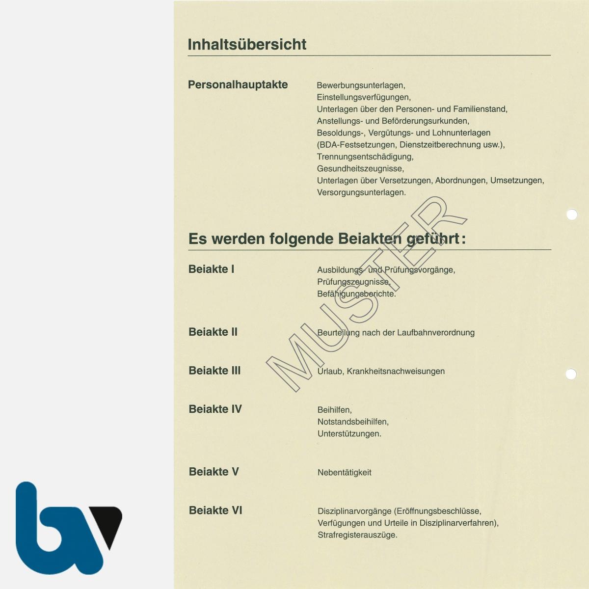 0/112-9 Personalakte Komplett Einlage Karton acht-teilig Register Seite 2 | Borgard Verlag GmbH