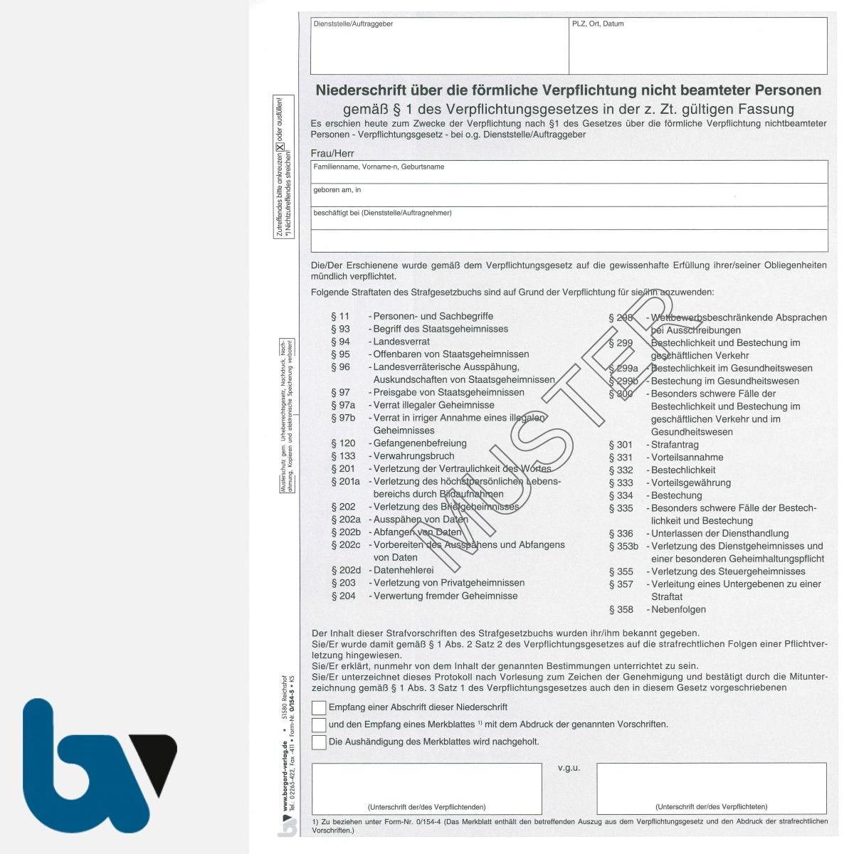 0/154-5 Niederschrift förmliche Verpflichtung Beschäftigte öffentlich Dienst Verpflichtungsgesetz Strafgesetzbuch selbstdurchschreibend 2-fach DIN A4 VS | Borgard Verlag GmbH