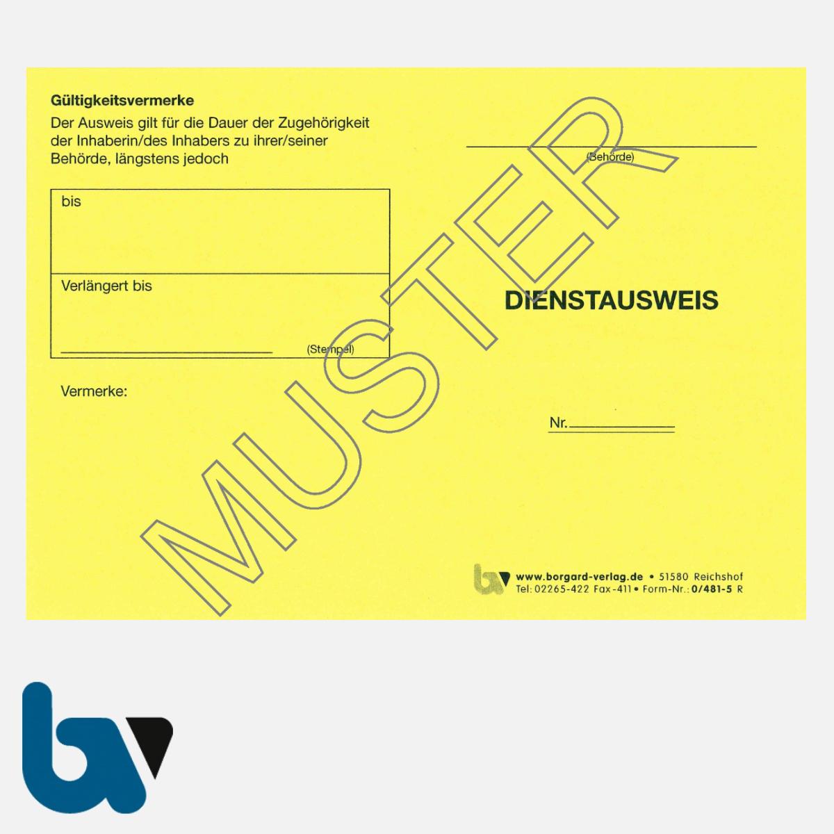 0/481-5 Dienstausweis Allgemein neutral gelb Neobond DIN A6-A7 VS | Borgard Verlag GmbH