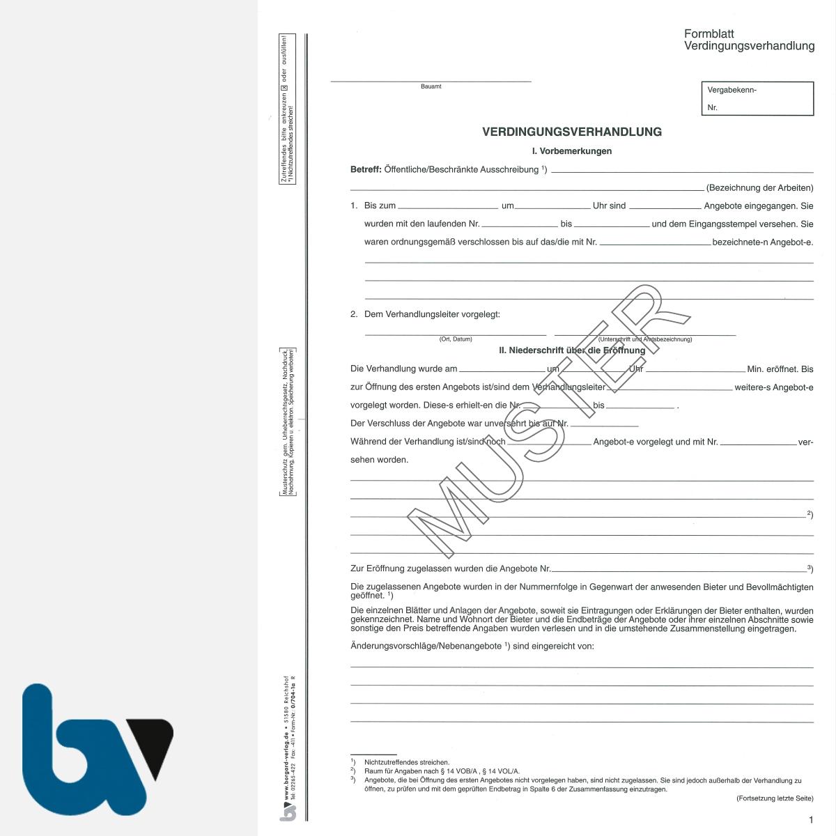 0/704-1a Verdingungsverhandlung Niederschrift Ausschreibung Submission VOB VOL Doppelbogen DIN A4 Seite 1 | Borgard Verlag GmbH