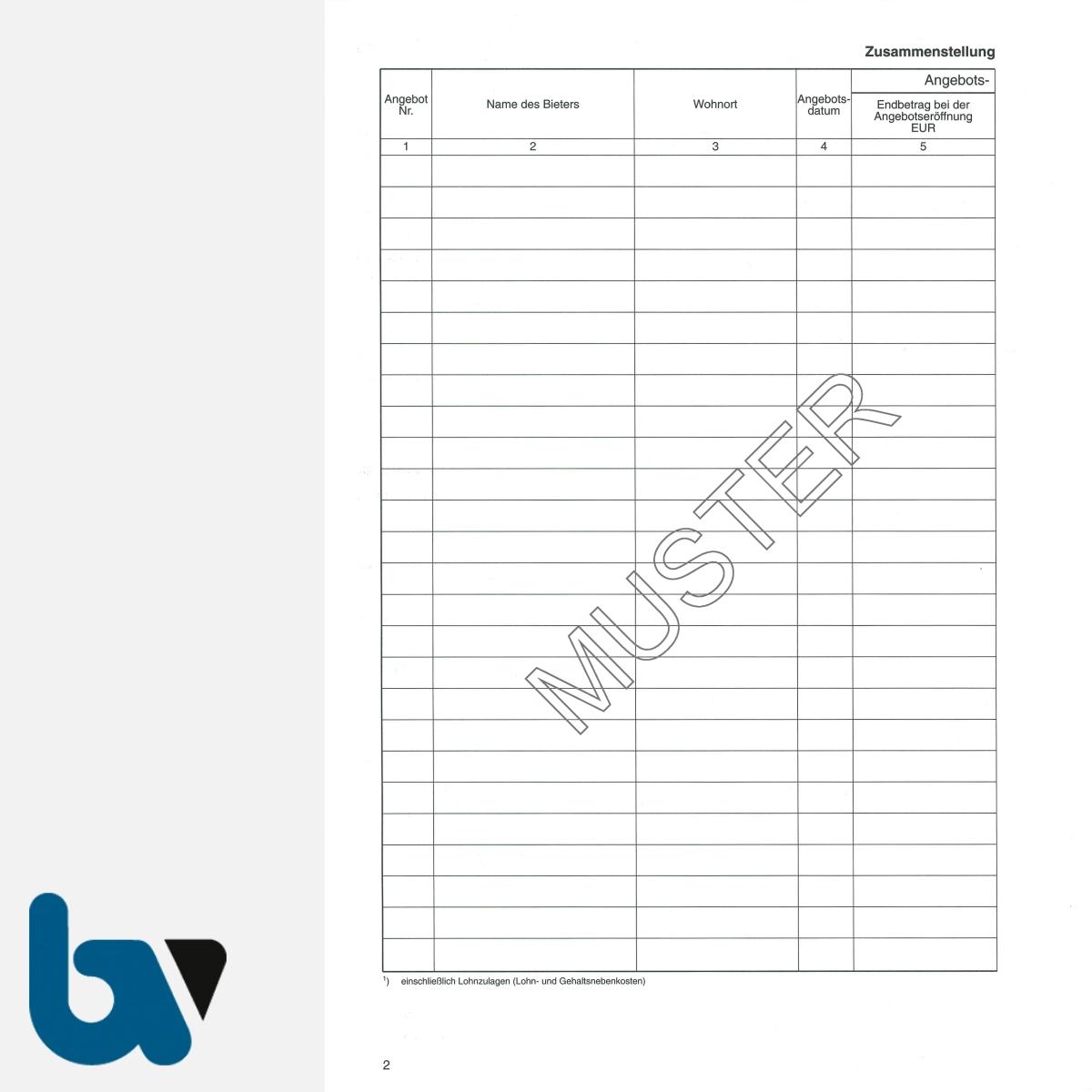 0/704-1a Verdingungsverhandlung Niederschrift Ausschreibung Submission VOB VOL Doppelbogen DIN A4 Seite 2 | Borgard Verlag GmbH