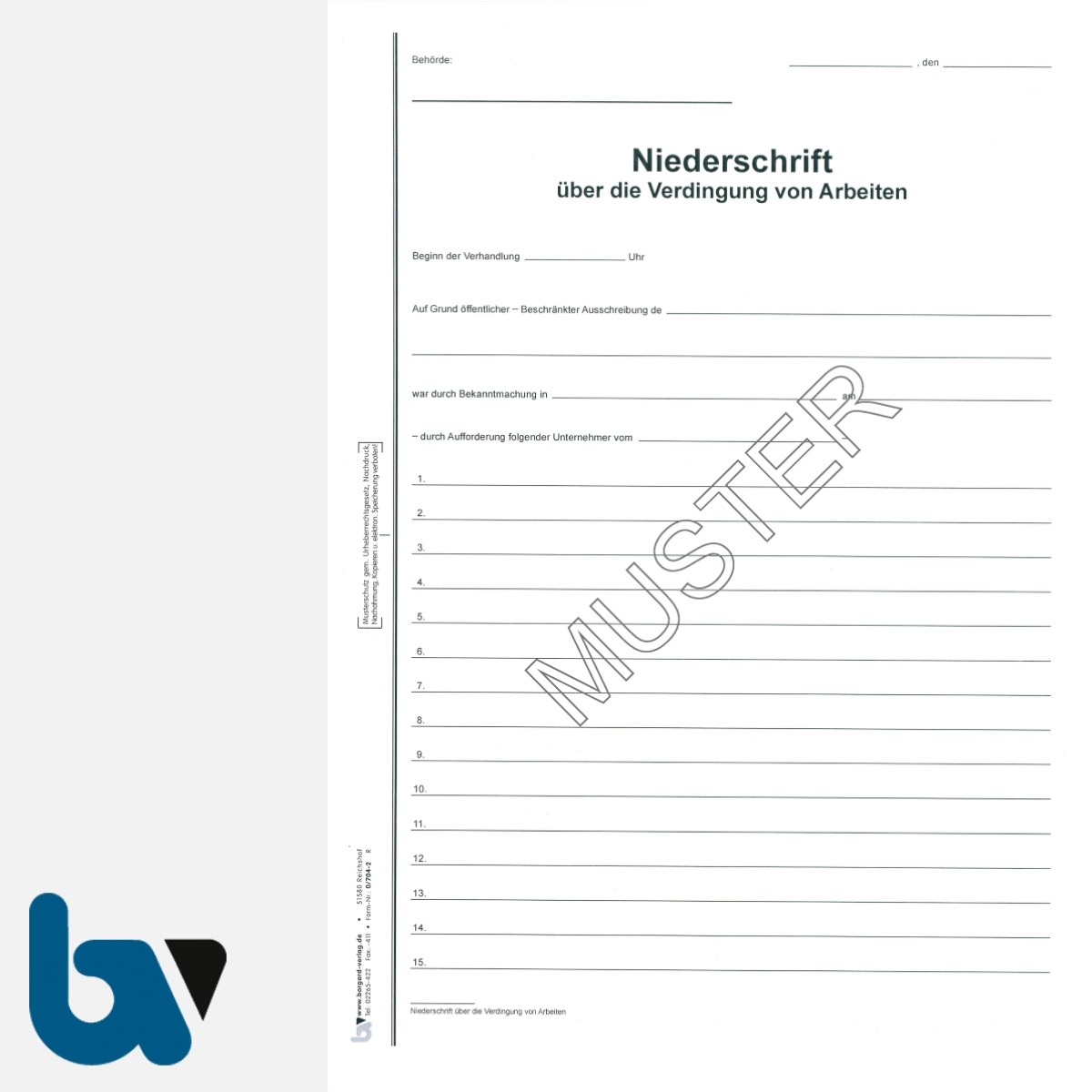 0/704-2 Verdingungsverhandlung Niederschrift Arbeiten Ausschreibung Submission VOB VOL Doppelbogen DIN A4 Seite 1 | Borgard Verlag GmbH