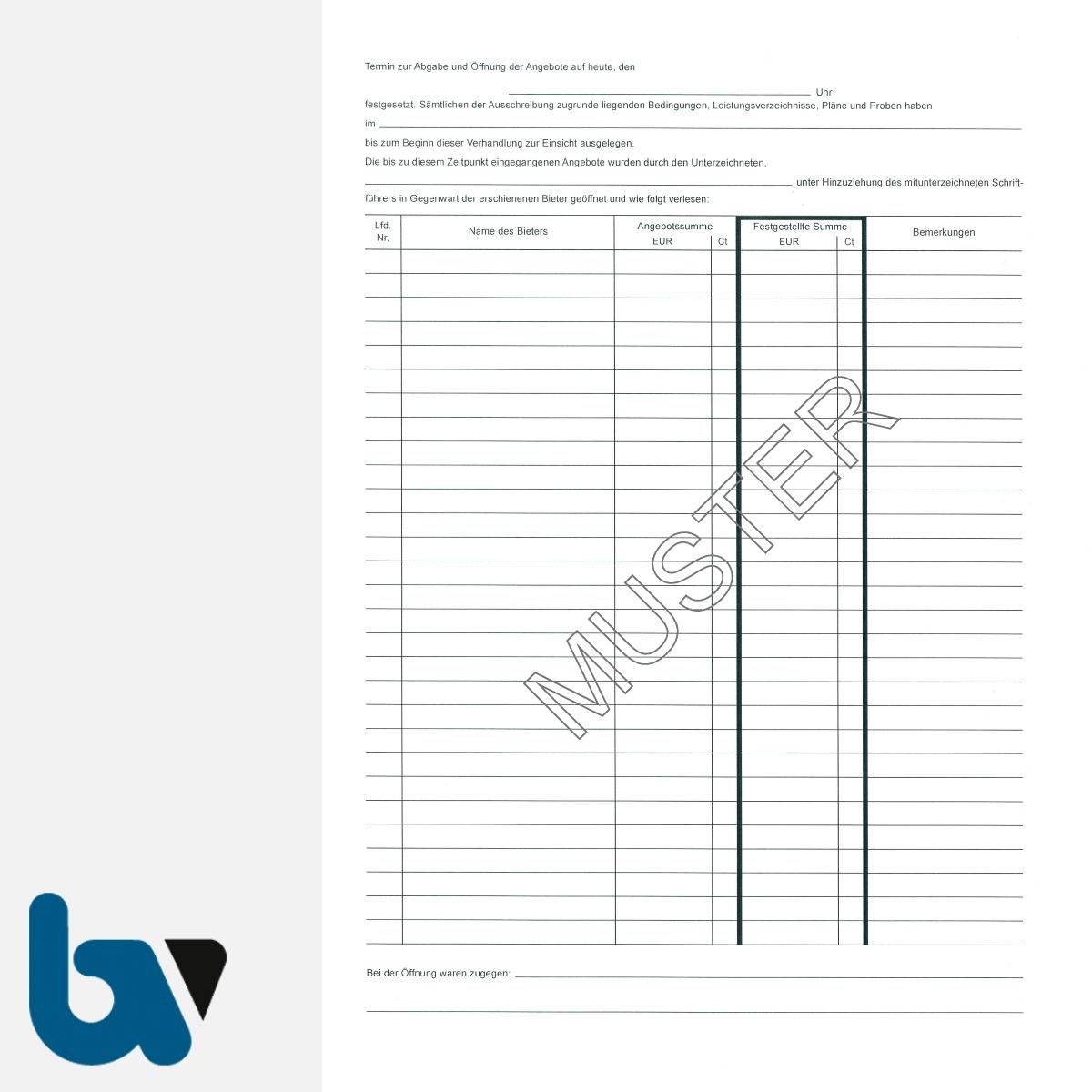 0/704-2 Verdingungsverhandlung Niederschrift Arbeiten Ausschreibung Submission VOB VOL Doppelbogen DIN A4 Seite 2 | Borgard Verlag GmbH