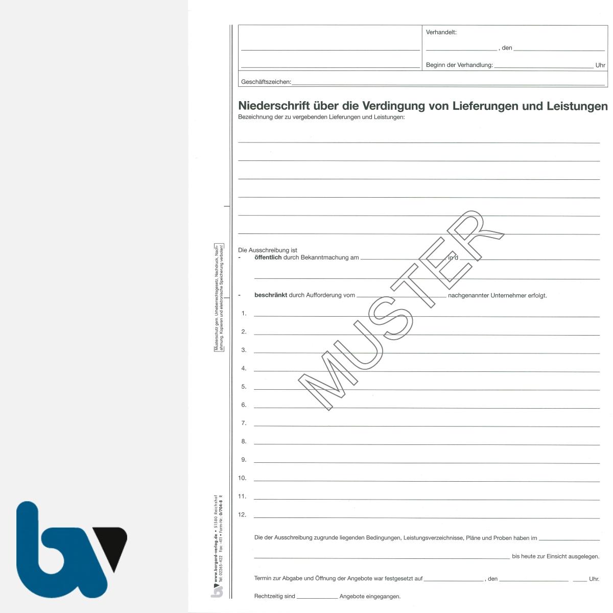 0/704-8 Verdingungsverhandlung Niederschrift Lieferung Leistung Ausschreibung Submission VOB VOL Doppelbogen DIN A4 Seite 1 | Borgard Verlag GmbH